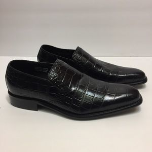 Paul Fredrick Black Leather Loafers. Size 9